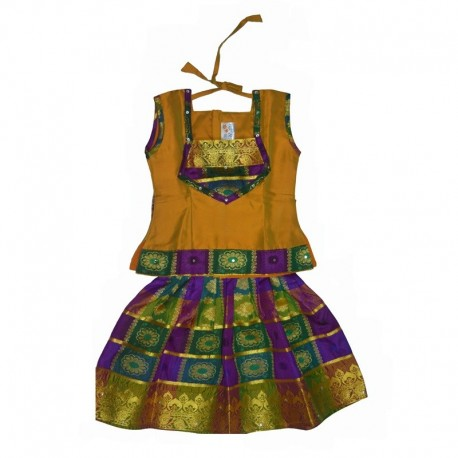 KIDSBAZAAR Girls Ethnic Dress - Yellow And Purple (Thanvika Pattu Multicolor Silk Dress)