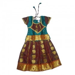 KIDSBAZAAR Girls Ethnic Dress - Sea Green & Maroon (Meera Pattu)