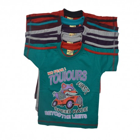 Kidsbazzar Colorfull Cotton Kids T-Shirts With Pan Set of 5
