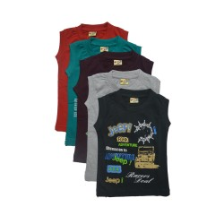 Kidsbazzar Sleeve Less Cotton T-Shirts For Kids Set of 5
