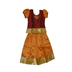 KidsBazzar Girls Ethnic Dress - Red & Orange (Chandrika Pattu Pavadai)