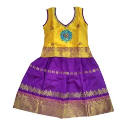 Kids Bazzar Girls Pattu Pavadai - GOLDEN & BLUE(Samuthrika Pattu Pavadai)